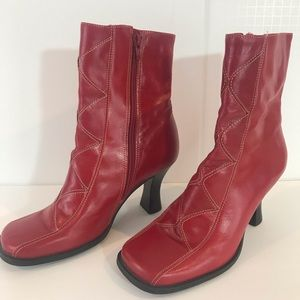Two Lips Red Leather Boots